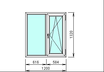 Готовое пластиковое окно 1200 х 1320 мм