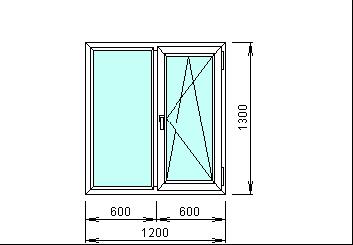Готовое пвх окно белое 1200х1300 мм