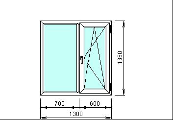 Готовое пвх окно 1300 х 1360 мм