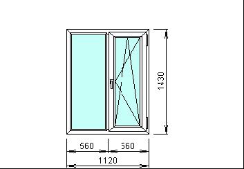 Готовое окно прозрачное 1120 х 1430 мм