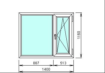 Готовое металлопластиковое окно 1400 х 1160 мм