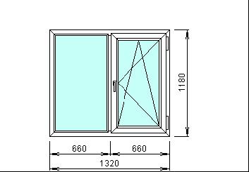 Готовое пвх окно, размеры 1320х1180 мм