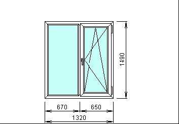 Готовое пвх окно размер 1320 х 1490 мм