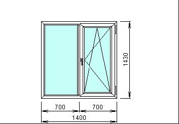 Готовые окна пластиковые 1400 х 1430 мм