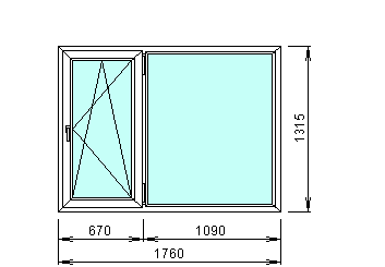 Готовое белое окно 1760 на 1315 мм