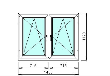 Готовое пластиковое окно размером 1430 на 1120 мм