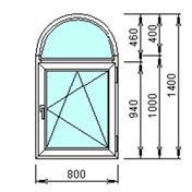 Арочное окно 1400 на 800мм