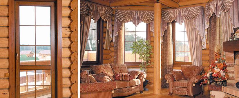 Дом из бруса с окнами пвх