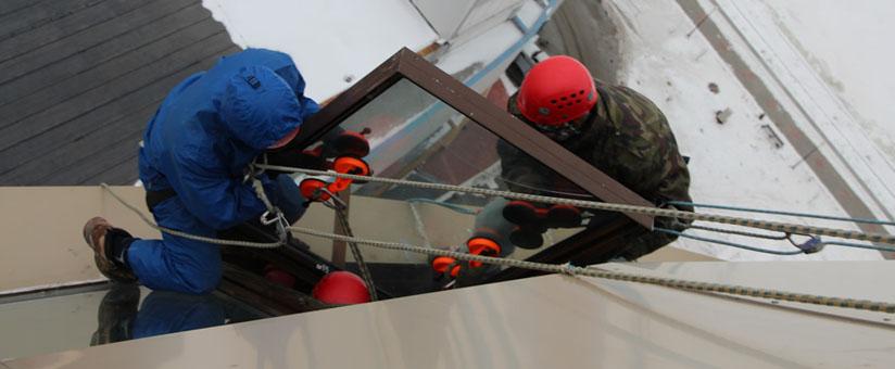 Монтаж окна в промышленном здании