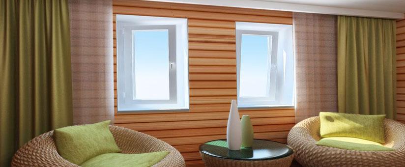 Два окна в деревянном доме