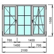 Окно в коттедж трехстворчатое 2100х1500мм