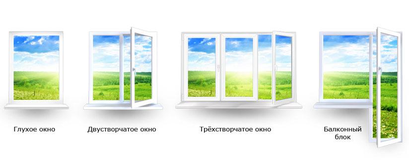 Виды белых пластиковых окон