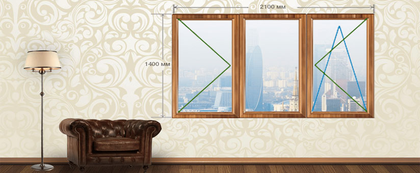 Трехстворчатое окно кашированное