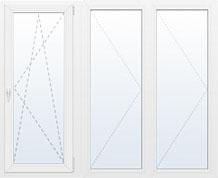 Трехстворчатое окно РЕХАУ СИБ 2000 на 1400мм